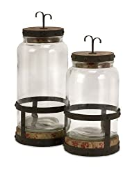Set of 2 Rustic Old Fashioned Glass and Metal Jar Canisters 15""