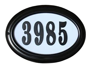 Qualarc LTO-1302BL-PN Edgewood Oval Lighted Address Plaque in Black Frame Color with 4-Inch Black Polymer Numbers