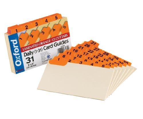 Oxford Index Card Guide, Daily 1-31, in carta Manila, con linguette di guida, colore: arancione, 1/Cut Tab 3, 5 x, 31, Set B roartikel?