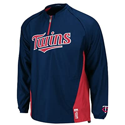 MLB Minnesota Twins Long Sleeve Lightweight 1/4 Zip Gamer Jacket, Navy/Red