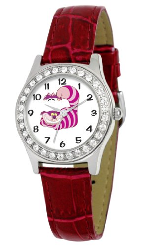 Disney Women's D1499S029 Queen Collection Cheshire Cat Red Leather Strap Watch