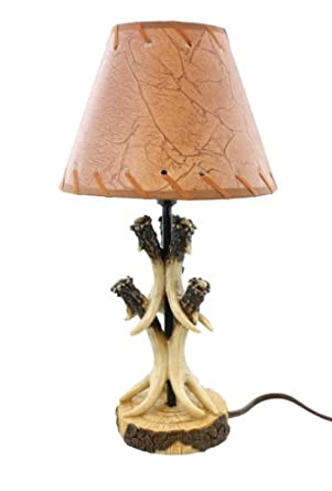Realistic Deer Antler Small Table Lamp Whitetail Cabin