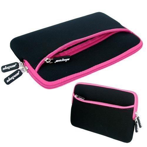Skque 13.3 Zoll Laptop Glove Tasche Case Pink (außen Schwarz, Innen Pink, Reißverschluss Pink)
