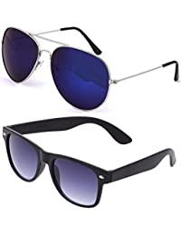 SHEOMY SUNGLASSES COMBO - SILVER BLUE MERCURY AVIATOR SUNGLASSES AND WAYFARER BLUE BLACK SUNGLASSES WITH 2 BOXES...