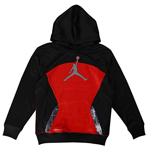 Jordan Boys S. Flight Pullover Hoodie (5, Black/Red)