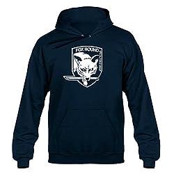 Fox Hound, Metal Gear Solid Inspired, Men's, Unisex, Hoodie, Hoody, Hooded Sweater, Navy Blue,