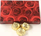 Scott's Cakes White Chocolate Apricot Italian Butter Cream Candies with Gold Foils in a 1 Pound Red Roses Box