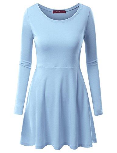 Doublju Women Long Sleeve Soft Fabric Flare Dress SKYBLUE,S