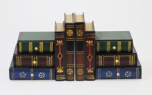 JustNile Classic Book-Alike Decorative Bookends - 6 Drawers Set B