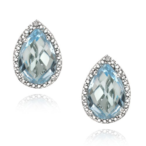 Sterling Silver 7.4ct Blue Topaz & Diamond Accent Teardrop Earrings