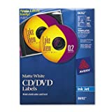 Inkjet CD/DVD Labels, Matte White, 40/Pack