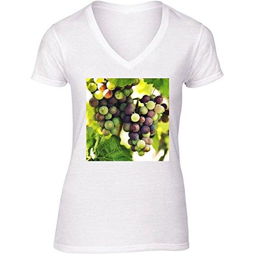 T-shirt Bianco scollo a V Donne - Taglia S - Uva Da Vino, Autunno Cadere by Petra