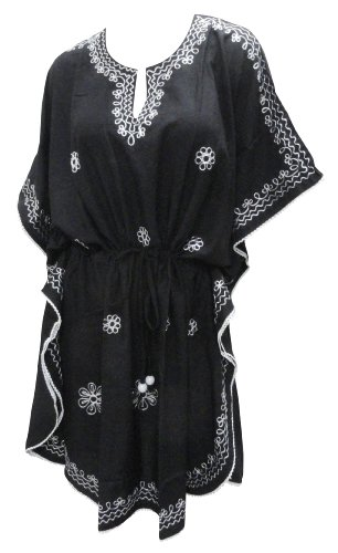 La Leela Black Color Chain Stitched Embroidered Cotton Beach Cover up