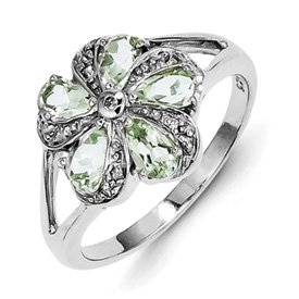 Genuine IceCarats Designer Jewelry Gift Sterling Silver Rhodium Green Amethyst Diamond Ring Size 7.00