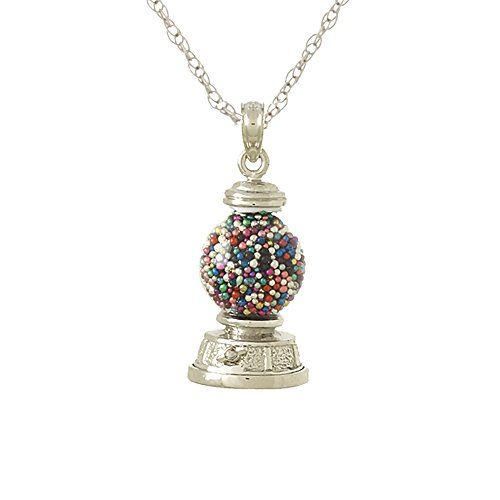 925 Sterling Silver Novelty Charm Pendant, 3-D Gumball Machine, Moveable with 18 Inch Rope Chain
