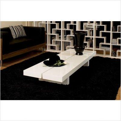 """Tema 9000.3101XX Glaciar 60"""" Coffee Table in High Gloss White"""