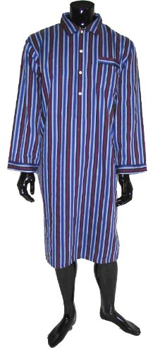 Lloyd Attree & Smith Luxurious Cotton Nightshirt - Navy/Blue/Red Stripe