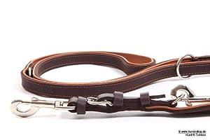 Führerleine Leder Kairo Braun 220 cm Länge / 20 mm Breite