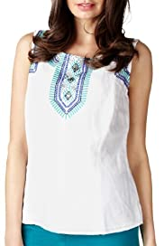 Per Una Linen Blend Aztec Embroidered Shell Top [T62-2904I-S]