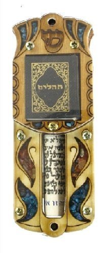Klaf 8 Kosher Wooden Judaica Jewish Mezuza 10cm case With Psalm Tehilim Book