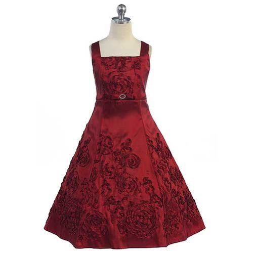 Angels Garment Toddler Girls 3T Burgundy Rhinestone Christmas Dress