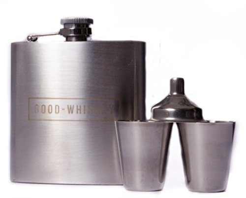 Hip Flask: by Good Whiskey With Stainless Steel Shot Glasses, No Spill Hip Flask Funnel and Gift Box