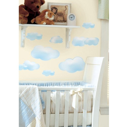 Roommates Decor Sticker Blue Clouds Wall Decals