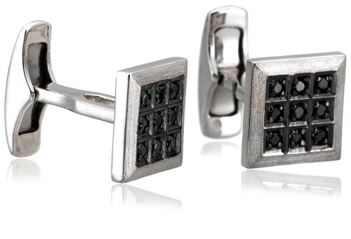 Men's Sterling Silver Black Diamond Cuff Links (1/4 cttw)
