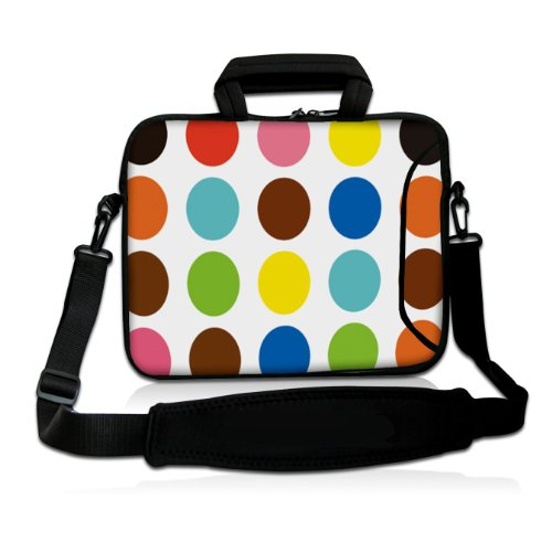 "17"" 17.3"" 17.4"" Inch Polka Dot Neoprene Notebook Laptop Soft Bag Sleeve Case Cover Pouch With Adjustable Shoulder Strap For Apple Macbook Pro 17 /Hp Envy 17 Series/ Pavilion Dv7/Dv7T/G72/G72T/G7T/M7 Series / Dell Inspiron 17 17R I17Rm I17Rv Xps 17 Series/ front-359523"