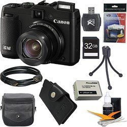 Canon PowerShot G16 12.1 MP CMOS Digital Camera with 5x Optical Zoom and 1080p Full-HD Video Ultimate Bundle With 32GB Secure Digital High Speed Memory Card, Digpro Deluxe Case, Extra Battery, Card Reader, Tripod , Card Wallet , HDMI Cable , Screen Pro