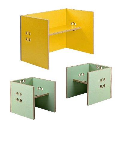 Kindersitzgruppe – Kindermöbel – 2 Kinderstühle/Hocker + 1 Kindertisch/Bank. Tisch gelb, Farbe Stühle frei wählbar. (Stühle/Hocker mintgrün, Tisch/Bank gelb) günstig bestellen