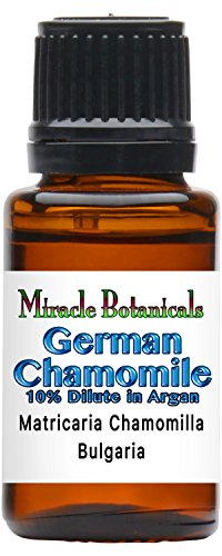 Miracle Botanicals German (Blue) Chamomile Essential Oil 10% Dilute - Matricaria Chamomilla (10%) in Virgin Organic Argan (90%) - Therapeutic Grade 15ml