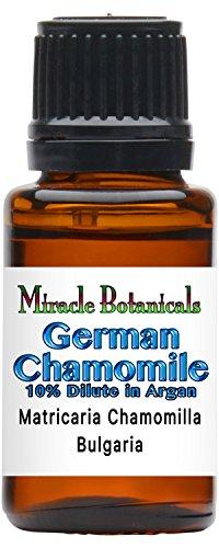 Miracle Botanicals German (Blue) Chamomile Essential Oil 10% Dilute - Matricaria Chamomilla (10%) in Virgin Organic Argan (90%) - Therapeutic Grade 15ml