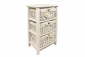 Woodluv meuble de rangement en bois 3 tiroirs paniers en for Meuble rangement panier osier