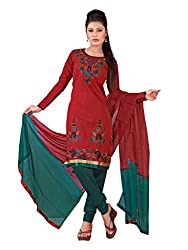 Urban Vastra Red Embroidery Dress Material ( 18998A )