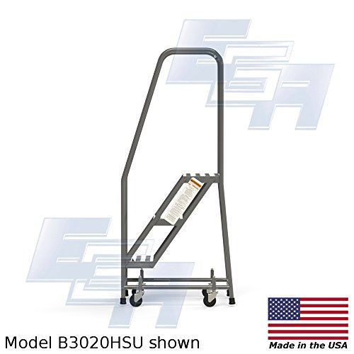 3 Step Rolling Ladder with Round Tube EZY Tread by EGA Products – An OSHA Compliant Way to Reach What You Need [AMERICAN MADE]