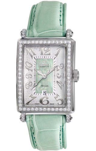 Gevril Women's 6206NL Glamour green calfskin band watch.