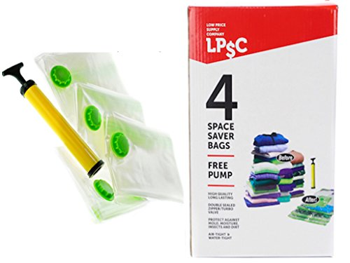 LPSC Vacuum Storage Bags, 4 Thick Space Saver Bags With Travel Pump (Vaccume Travel Bags compare prices)