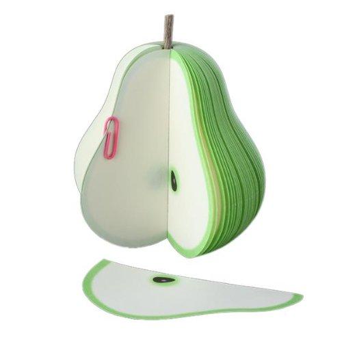 bloc-notes-memo-140-feuille-forme-3d-poire-vert-fruit-9x10cm