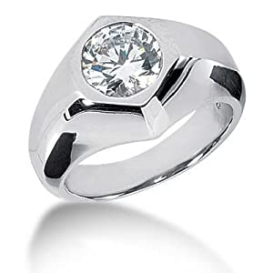 Men s Platinum Diamond Ring 1 Round Stone 2.50 ctw 120PLAT-MDR1140 - Size 13