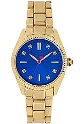 Betsey Johnson Women's Gold-Tone Blue Face Bracelet Watch 36mm BJ00441-02