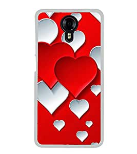 Red White Hearts 2D Hard Polycarbonate Designer Back Case Cover for Micromax Canvas Xpress 2 E313