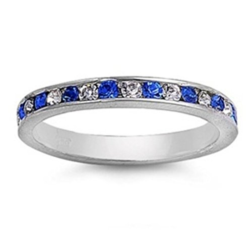 3mm Full Eternity Stackable Band Ring Alternating Channel Set Round Simulated Blue Sapphire CZ Solid 925 Sterling 4-12