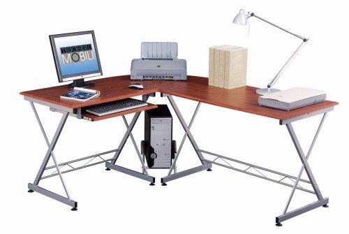 L Shape Computer desk Mahogany..1 Box