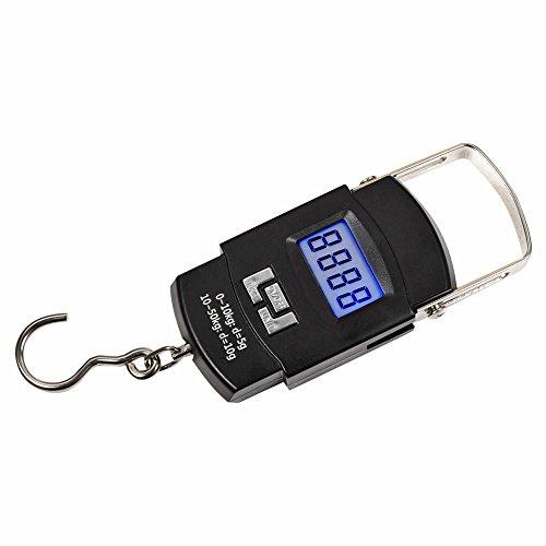 Mudder Electronique Crochet Balance à Grue/ Crochet Electronique 50kg / 110lb avec Ecran LCD Rétro-éclairage pour Les Bagages de la Pêche