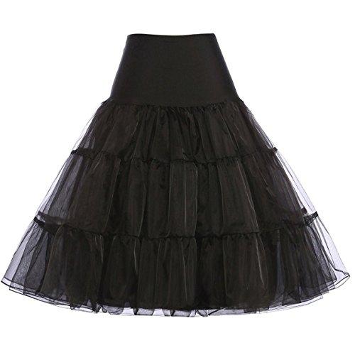 Vintage Women's 50s Rockabilly Tutu Skirt Petticoat Black(S)