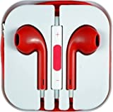 Zuvo ® Earphones Headphones Earbuds with Volume Controls and Microphone For Apple iPhone 4 4S 5 5S 6 iPod and iPad Red