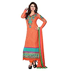 ARAJA FASHION NEW DESIGNER CLASSICAL GOOD LOOKING ORANGE GEORGETTE PATCH EMBROIDERED AND STONE WORK UNSTICHED FESTIVAL AND MARRIAGE WEAR CHUDIDAR DRESS MATERIAL COLLECTION