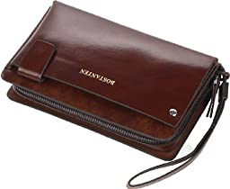Men\'s Leather Business Wristlet Zippered Clutch Bag Handbag Organizer Wallet Purse (Coffee)