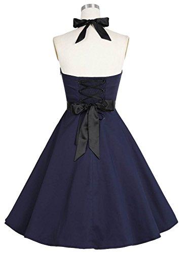 Dressystar Vintage Polka Dot Retro Cocktail Prom Dresses 50's 60's Rockabilly Bandage Solid Navy L